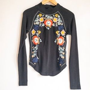 Free People Embroidered Long Sleeve Shirt /EUC